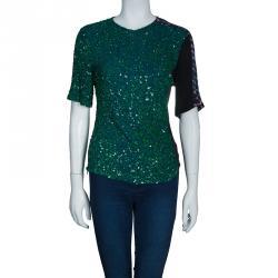 Dries van Noten Emerald Sequin Embellished Top M