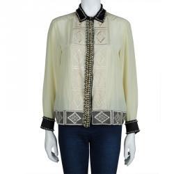 Dries Van Noten Cream Silk Embroidered Embellished Long Sleeve Shirt M