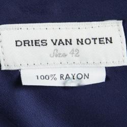 Dries van Noten Blue Satin Front Tie Detail Pants M