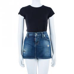 Dsquared2 Denim Distressed Mini Skirt M