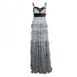 4b0f8928ced7 Elie Saab White Lace Detail Polka Dotted Tiered Sleeveless Gown M