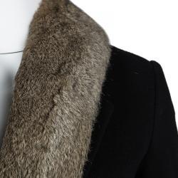 Elizabeth and James Black Wool Rabbit Fur Lined Coat XS