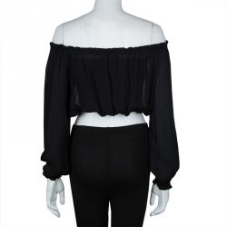 Elizabeth and James Sheer Black Off Shoulder Long Sleeve Cropped Silk Top XS