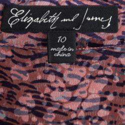 Elizabeth and James Multicolor Printed Silk Blouse L