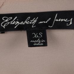 Elizabeth and James Beige Chiffon Floral Applique Cropped Top XS