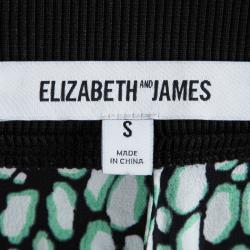 Elizabeth and James Black Printed Silk Elasticized Waist Pants S