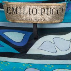 Emilio Pucci Blue Abstract Silk One Shoulder Top OS