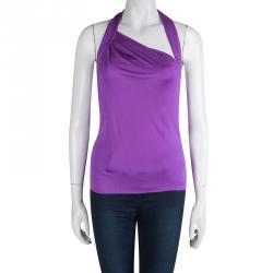 Emilio Pucci Purple Silk Backless Draped Top M