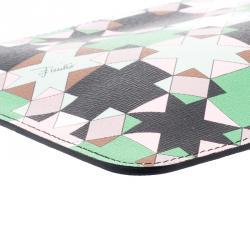 Emilio Pucci Multicolor Geometric Print Leather Small Clutch