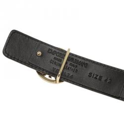 Emporio Armani Brown Croc Embossed and Black Leather Reversible Belt Size 42