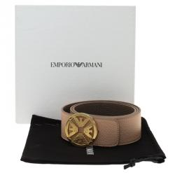 Emporio Armani Brown and Beige Leather Reversible Belt Size 42