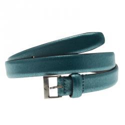 Emporio Armani Blue Metallic Skinny Belt 95 CM