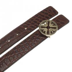 Emporio Armani Brown Croc Embossed and Black Leather Reversible Belt 110 CM