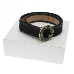 Emporio Armani Black Leather and Monogram Canvas Belt 95 CM