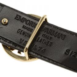 Emporio Armani Brown Croc Embossed and Black Leather Reversible Belt 95 CM