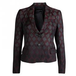 Emporio Armani Burgundy Textured Jacquard Blazer S
