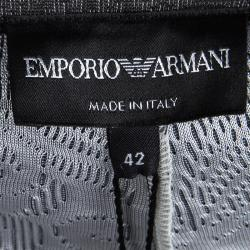 Emporio Armani Grey Floral Jersey Jacquard Trousers M