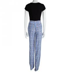 Emporio Armani Multicolor Printed Mesh Overlay Trousers L
