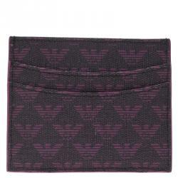 Emporio Armani Purple Monogram Canvas Card Holder