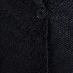Emporio Armani Navy Blue Textured Chevron Pattern Skirt Suit S