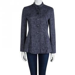 Emporio Armani Navy Blue Textured Mandarin Collar Jacket M