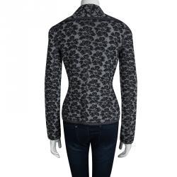 Emporio Armani Grey Floral Lurex Jacquard Cropped Cardigan M