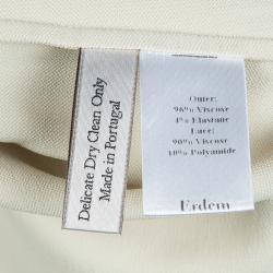 Erdem Beige Contrast Lace Detail Long Sleeve Buttondown Shirt L
