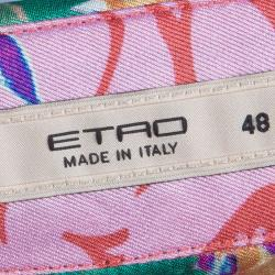Etro Red Floral Printed Silk Long Sleeve Button Front Shirt L