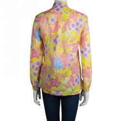 Etro Yellow Floral Printed Long Sleeve Button Front Shirt S
