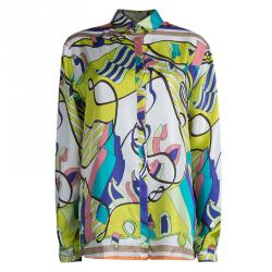 Etro Multicolor Printed Silk Long Sleeve Button Front Shirt L
