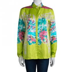 Etro Lime Green Floral Printed Silk Long Sleeve Button Front Shirt M