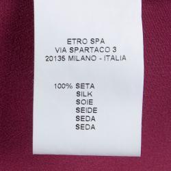 Etro Pink Silk Pintuck Detail Long Sleeve Blouse L