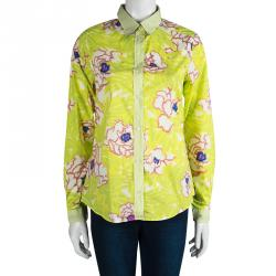 e53a212e3500c Buy Etro Yellow Floral Printed Cotton Long Sleeve Button Front Shirt ...
