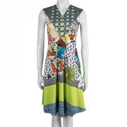 Etro Multicolor Printed Cotton V-Neck Sleeveless Dress S