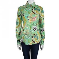 Etro Light Green Floral Printed Long Sleeve Button Front Shirt M