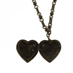 Etro Heart Locket Brass Necklace