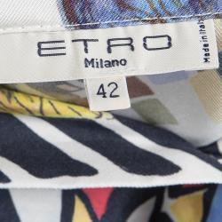 Etro Multicolor Printed Silk Button Down Crop Top M