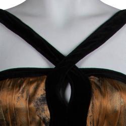 Etro Multicolor Printed Silk Velvet Trim Maxi Dress M