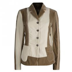 Etro Beige and Brown Velvet Notched Collar Blazer L