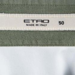 Etro Colorblock Printed Cotton Long Sleeve Button Front Shirt XL