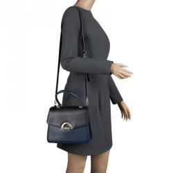 Faure Le Page Black/ Blue Leather Parade  Shoulder Bag
