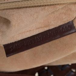 Fendi Brown Suede and Leather Large Convertible Stitched Baguette Bag