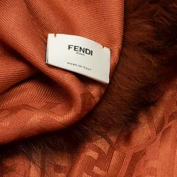 Fendi Orange Zucca Fur Trimmed Shawl