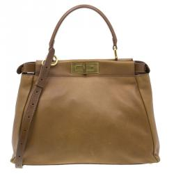 Fendi Tan Leather Small Peekaboo Tote