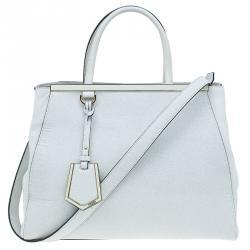 Fendi White Saffiano Leather 2jours Tote