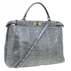 Fendi Grey Python Leather Large Peekaboo Bag