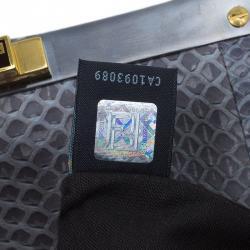 Fendi Grey Python Leather Large Peekaboo Bag