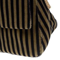 Fendi Bi Color Striped Velvet Mini Mama Baguette Evening Bag