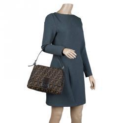 Fendi Tobbaco Zucca Canvas Mama Forever Shoulder Bag