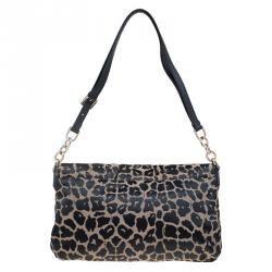 Fendi Bi Color Leopard Print Canvas New Forever Flap Bag